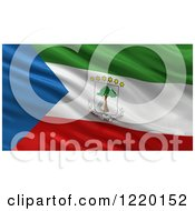 Clipart Of A 3d Waving Flag Of Equatorial Guinea With Rippled Fabric Royalty Free Illustration