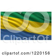 Clipart Of A 3d Waving Flag Of Gabon With Rippled Fabric Royalty Free Illustration