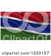 Clipart Of A 3d Waving Flag Of Gambia With Rippled Fabric Royalty Free Illustration