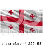 Clipart Of A 3d Waving Flag Of Georgia With Rippled Fabric Royalty Free Illustration