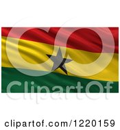 Clipart Of A 3d Waving Flag Of Ghana With Rippled Fabric Royalty Free Illustration