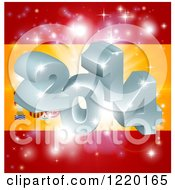 Clipart Of A 3d 2014 And Fireworks Over A Spanish Flag Royalty Free Vector Illustration