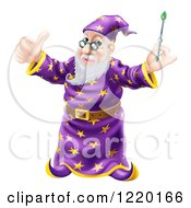 Clipart Of A Pleased Old Wizard Holding A Thumb Up And Magic Wand Royalty Free Vector Illustration