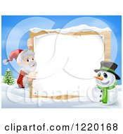 Clipart Of A Snowman And Santa Claus Pointing To A Christmas Sign In A Winter Landscape Royalty Free Vector Illustration