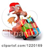 Clipart Of A 3d Red Dragon Pushing Christmas Presents On A Dolly 3 Royalty Free Illustration