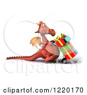 Clipart Of A 3d Red Dragon Pushing Christmas Presents On A Dolly 2 Royalty Free Illustration
