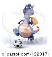Clipart Of A 3d Purple Dragon Playing Soccer Royalty Free Illustration