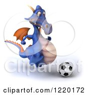 Clipart Of A 3d Purple Dragon Playing Soccer 2 Royalty Free Illustration