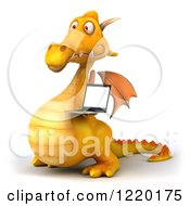 3d Yellow Dragon Holding A Laptop 2