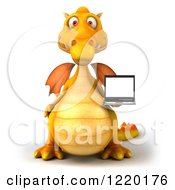 3d Yellow Dragon Holding A Laptop