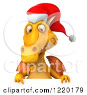 Clipart Of A 3d Yellow Christmas Dragon Pointing Down Over A Sign Royalty Free Illustration