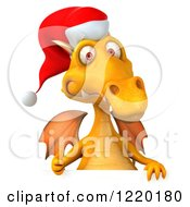 3d Yellow Christmas Dragon Holding A Thumb Up Over A Sign