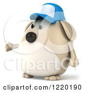 Clipart Of A 3d Chubby Dog Wearing A Baseball Cap And Presenting 2 Royalty Free Illustration
