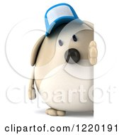 Clipart Of A 3d Chubby Dog Wearing A Baseball Cap And Looking Around A Sign Royalty Free Illustration