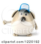 Clipart Of A 3d Chubby Dog Wearing A Baseball Cap And Presenting Royalty Free Illustration
