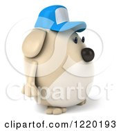 Clipart Of A 3d Chubby Dog Wearing A Baseball Cap And Facing Right Royalty Free Illustration