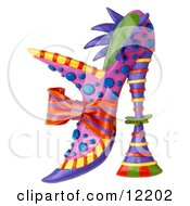 Clay Sculpture Clipart Decorative High Fashion Heel Shoe Royalty Free 3d Illustration by Amy Vangsgard #COLLC12202-0022