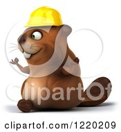 Clipart Of A 3d Beaver Worker Mascot Meditating 2 Royalty Free Illustration