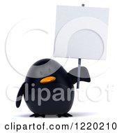 3d Chubby Black Bird Mascot Holding A Sign