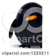 3d Chubby Black Bird Mascot Looking Around A Sign