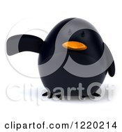 3d Chubby Black Bird Mascot Pointing To The Left