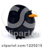 3d Chubby Black Bird Mascot Facing Right