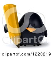 3d Chubby Black Bird Mascot Writing With A Pencil