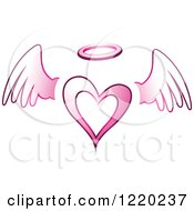 Clipart Of A Pink Winged Angel Heart Royalty Free Vector Illustration