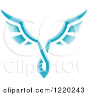 Clipart Of A Pair Of Blue Wings 6 Royalty Free Vector Illustration