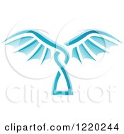 Clipart Of A Pair Of Blue Wings 8 Royalty Free Vector Illustration