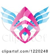 Colorful Pink And Blue Winged Shield Tribal Icon