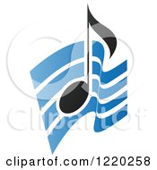 Clipart Of A Black Music Note Over Blue Waves Royalty Free Vector Illustration by cidepix