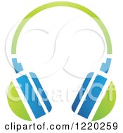 Clipart Of Green And Blue Headphones Royalty Free Vector Illustration by cidepix