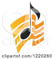 Clipart Of A Black Music Note Over Orange Waves Royalty Free Vector Illustration by cidepix