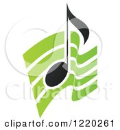 Clipart Of A Black Music Note Over Green Waves Royalty Free Vector Illustration by cidepix