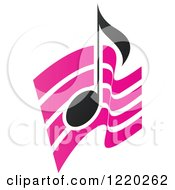 Clipart Of A Black Music Note Over Pink Waves Royalty Free Vector Illustration by cidepix
