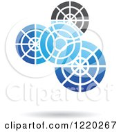 Clipart Of A Blue And Black Gear Icon Royalty Free Vector Illustration