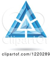 Clipart Of A 3d Blue And Black Triangle Icon Royalty Free Vector Illustration