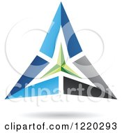 Clipart Of A Floating 3d Green Black And Blue Pyramid Icon Royalty Free Vector Illustration