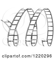 Clipart Of A Curles Of Black And White Film Strip Royalty Free Vector Illustration