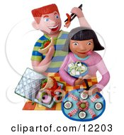 Clay Sculpture Clipart Kids Eating Sushi For Lunch Royalty Free 3d Illustration