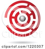 Clipart Of A Floating Red And Black 3d Sphere And Maze Icon Royalty Free Vector Illustration