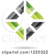 Clipart Of A 3d Black And Green Abstract Diamond Royalty Free Vector Illustration