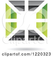Clipart Of A Floating Green And Black Square Icon Royalty Free Vector Illustration