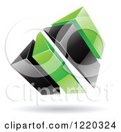 Clipart Of A 3d Abstract Green And Black Logo Royalty Free Vector Illustration