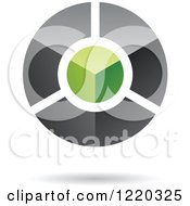 Clipart Of A Floating Green And Black 3d Circle Icon Royalty Free Vector Illustration