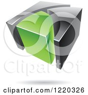 Clipart Of A 3d Abstract Green And Black Logo 3 Royalty Free Vector Illustration
