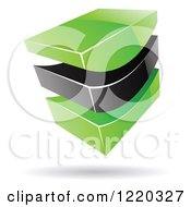 Clipart Of A 3d Abstract Green And Black Logo 2 Royalty Free Vector Illustration