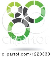Clipart Of A Floating Green And Black Gears Icon Royalty Free Vector Illustration
