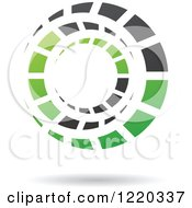 Clipart Of A Floating Green And Black Circle Icon Royalty Free Vector Illustration